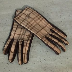 Burberry Plaid Lambskin & Cashmere Driving Gloves
